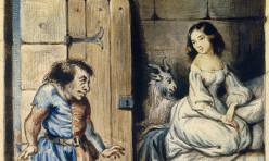 Gravure d'Esmeralda et Quasimodo ( personnages de notre Dame de Paris de Victor Hugo ) du 19e siècle. Musée Carnavalet, Paris