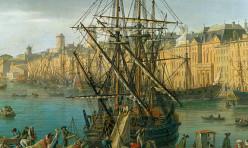 Le dechargement des marchandises ( detail droit du port de Marseille ) par Joseph Vernet. Peinture du 18e siècle conservée au musée de la Marine de Paris