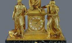 Pendule en bronze doré de Claude Galle. Diogene cherchant un homme. Malmaison, Musée du Chateau