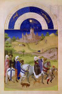 Le mois d Aout : moisson ; baignade ( chateau d Etampes ) ( tres riches heures du Duc de Berry ), Pol De Limbourg. Musée de Condé, Chantilly