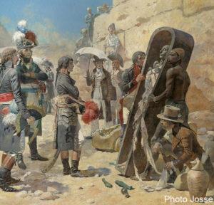 Napoleon Bonaparte devant les pyramides contemplant la momie d un roi durant la campagne d Egypte